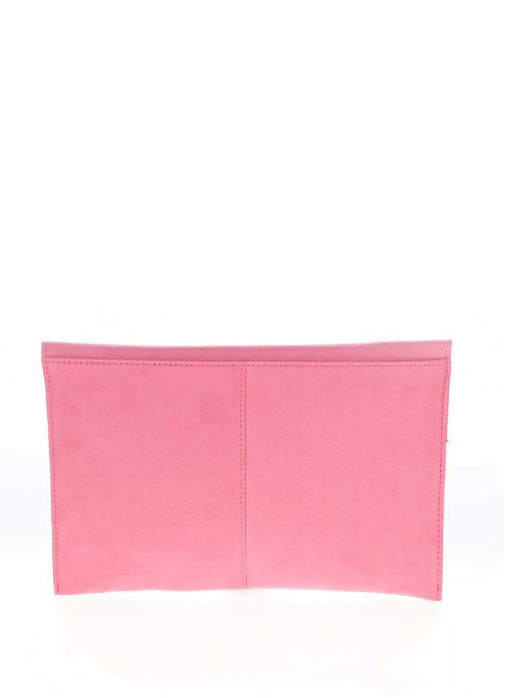 Geantă plic roz Dorothy Perkins cu aspect piele sinteitcă