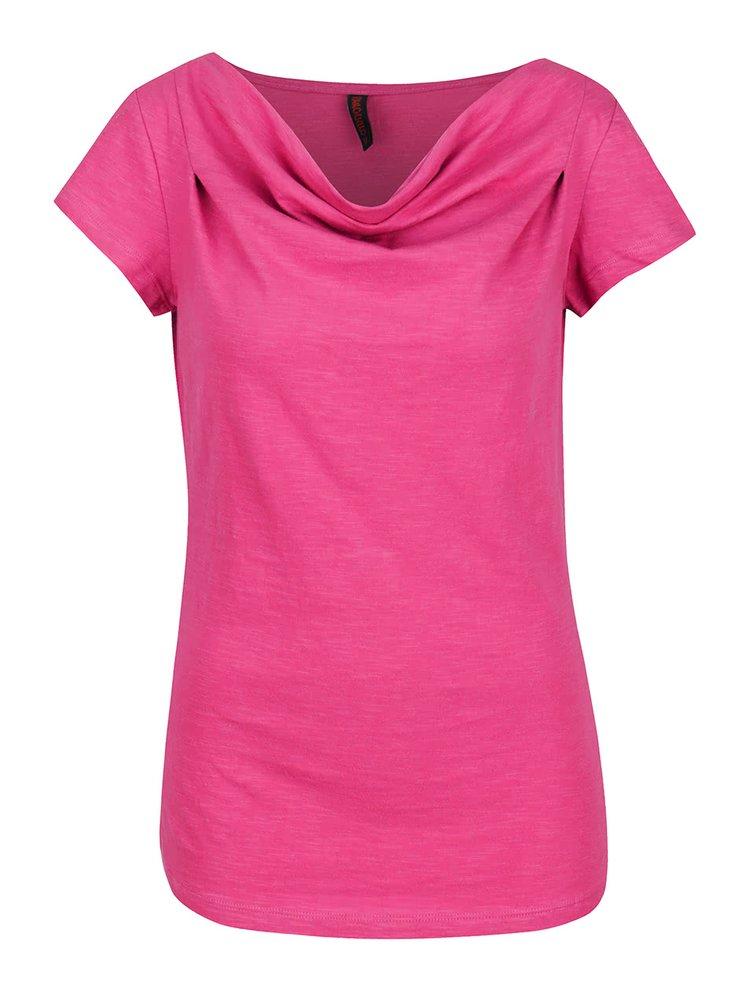 Tricou roz Tranquillo Laisa din bumbac organic cu decolteu drapat