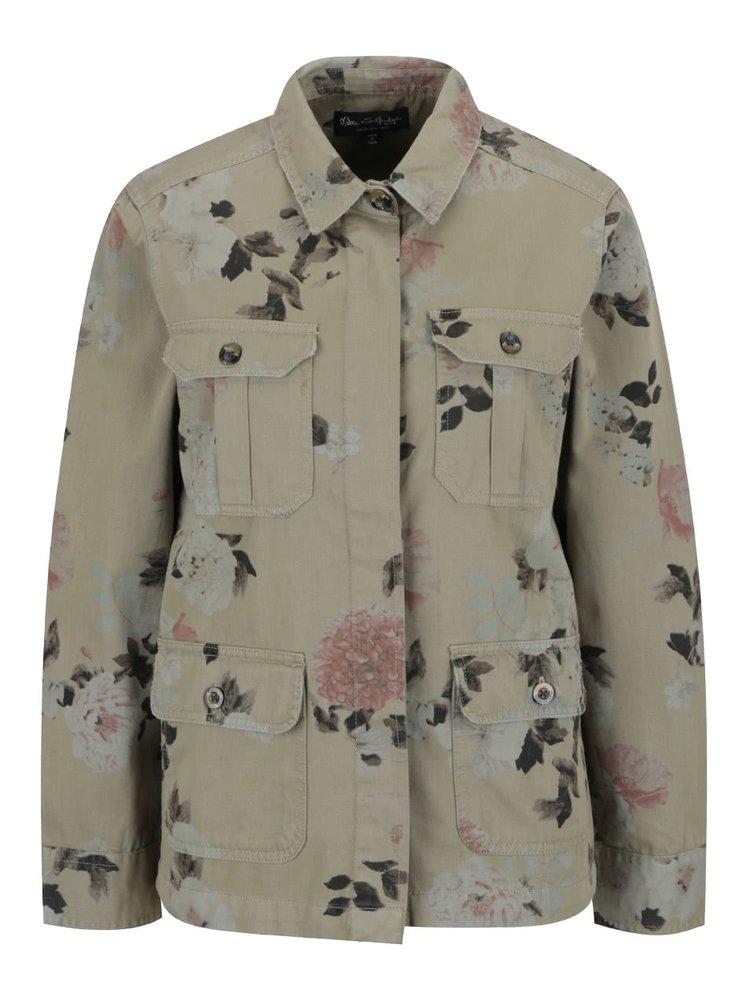 Khaki květovaná bunda Miss Selfridge