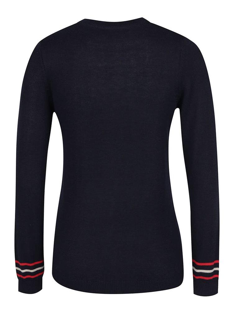 Tmavě modrý svetr s výšivkami kotev Dorothy Perkins
