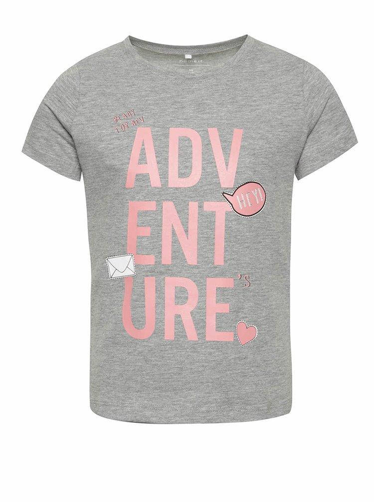 Šedé holčičí tričko s potiskem name it  Vixida