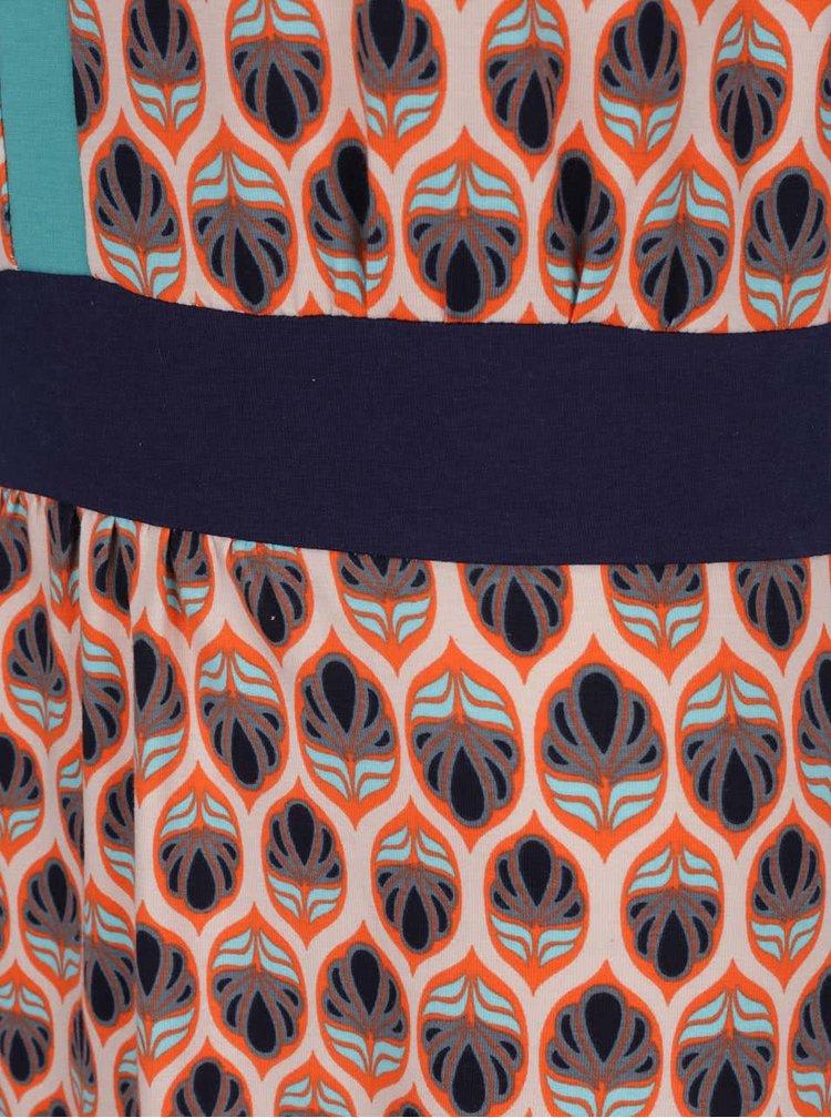 Rochie portocalie Tranquillo Dana cu model & detaliu turcoaz