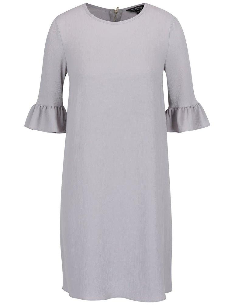Šedé volné šaty s volány na rukávech Miss Selfridge