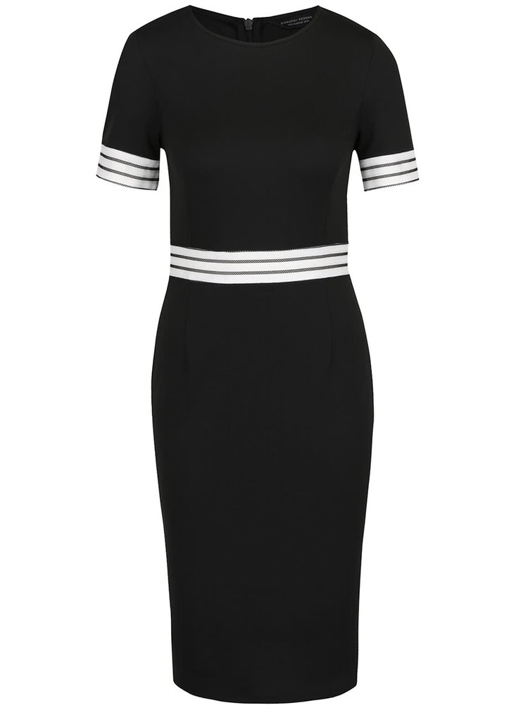 Černé pouzdrové šaty s bílou krajkou v pase Dorothy Perkins
