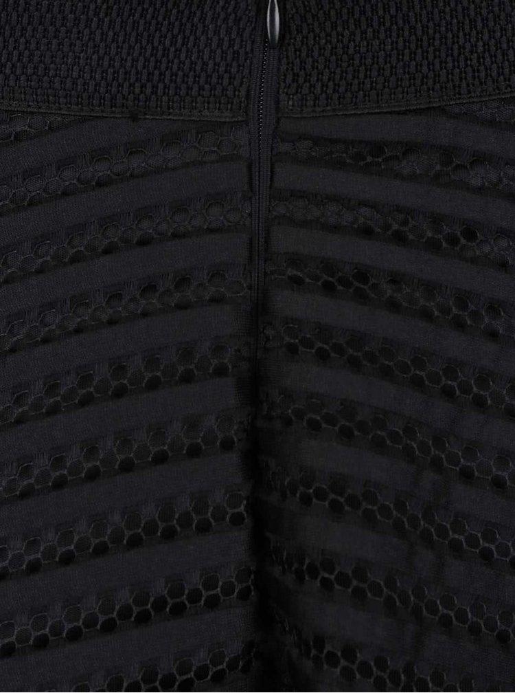Fusta midi neagra AX Paris din plasa neagra cu dungi opace
