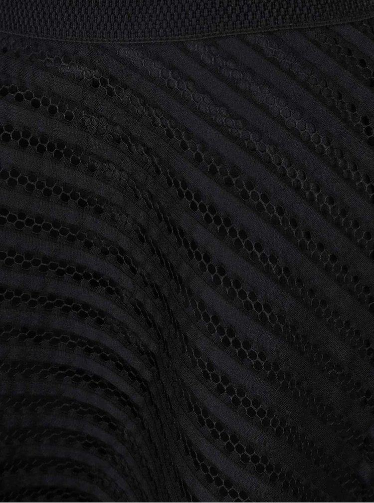 Fustă midi neagră AX Paris din plasă neagră cu dungi opace