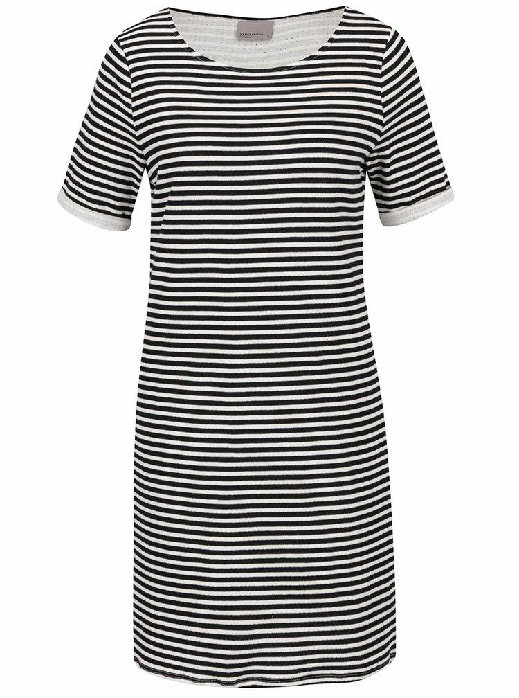 Krémovo-černé pruhované šaty VERO MODA Local