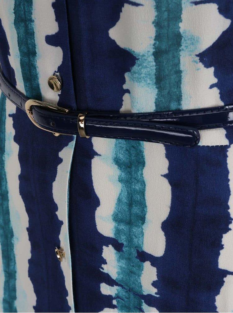Rochie maxi albastru&verde Closet cu volane și model acuarelă