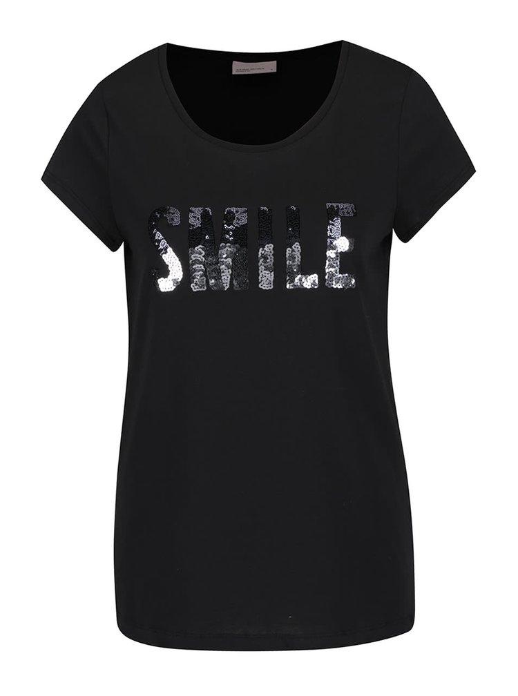 Černé tričko s nápisem z flitrů VERO MODA Wivi