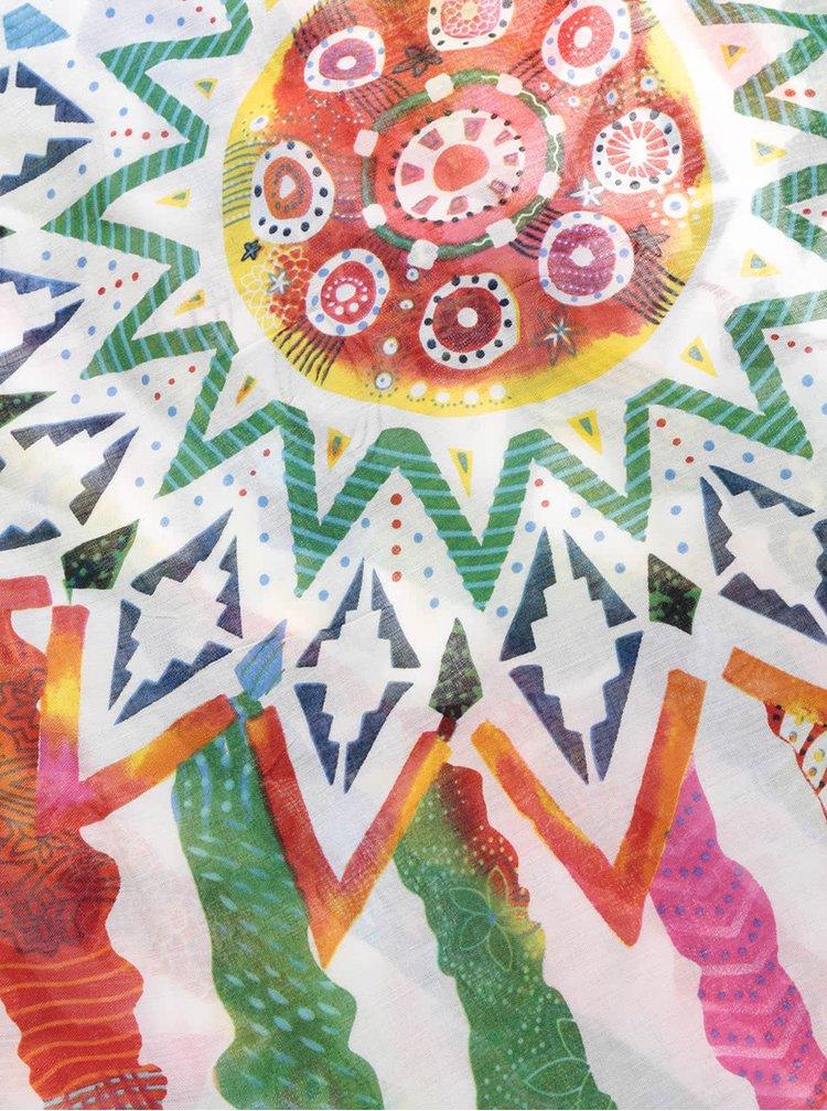 Krémový šátek s barevnými vzory Desigual Soft New Marine