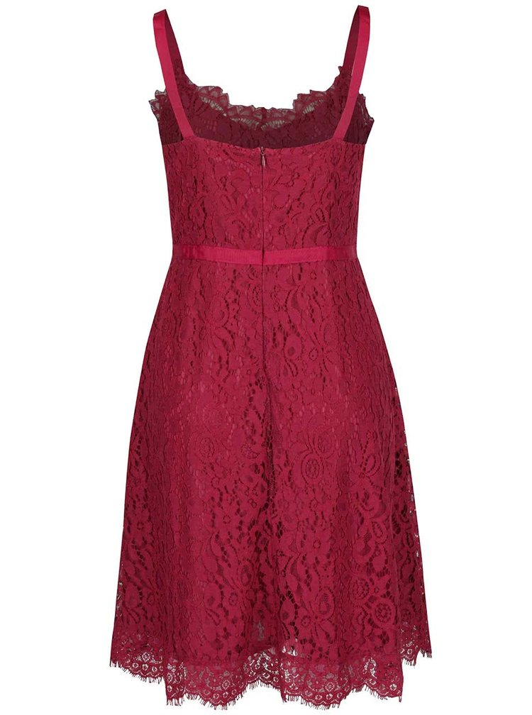 Rochie roșu Bordeaux VERO MODA Kate din dantelă