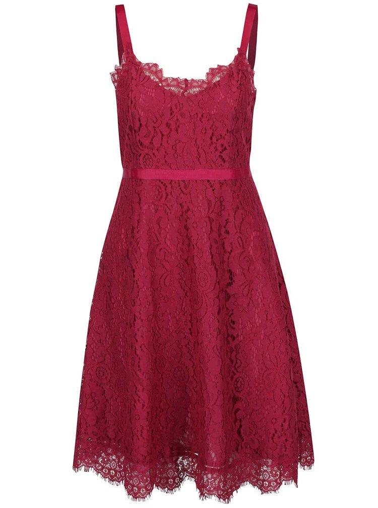 Vínové čipkované šaty VERO MODA Kate