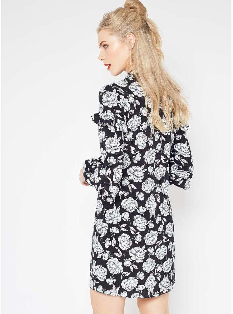 Rochie neagră cu imprimeu floral Miss Selfridge