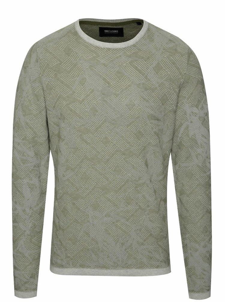Bluză gri & verde ONLY & SONS Pavel din bumbac cu model