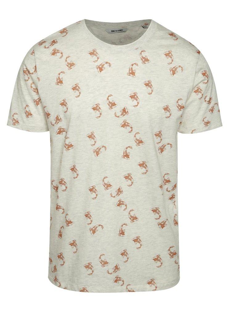 Béžové vzorované triko ONLY & SONS Talha