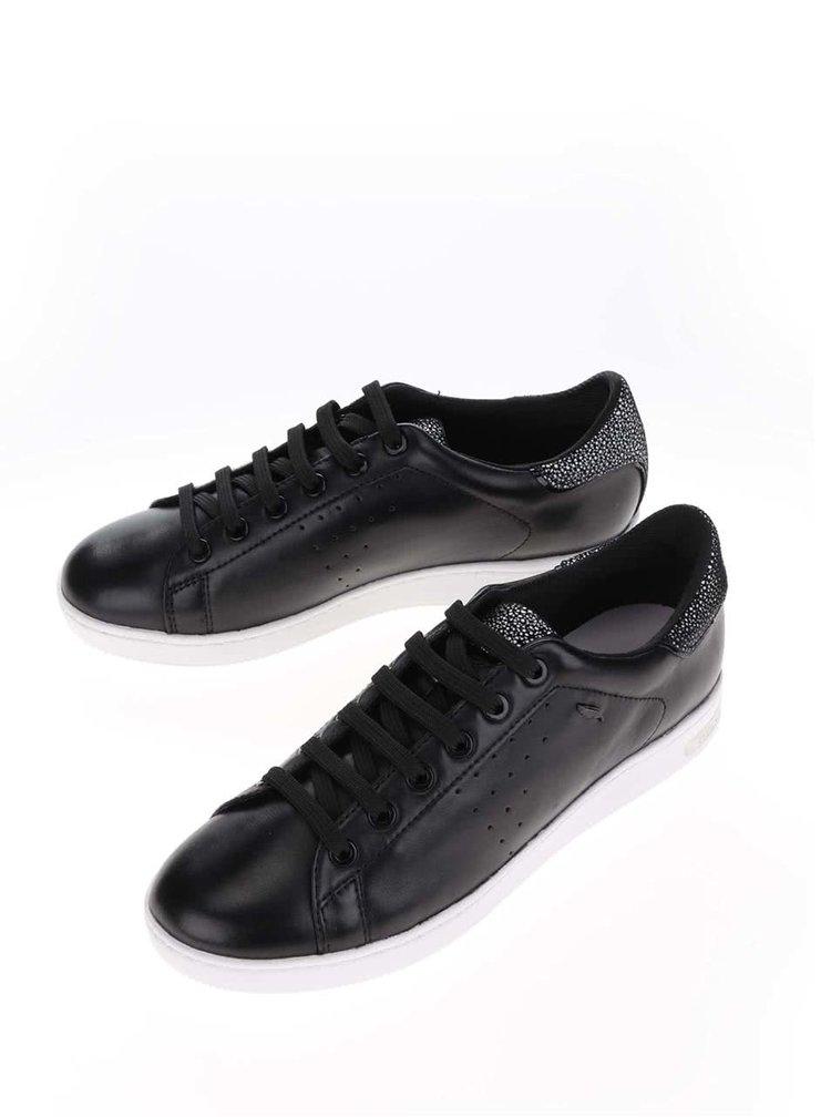 Pantofi sport negri Geox Jaysean din piele cu detaliu stralucitor