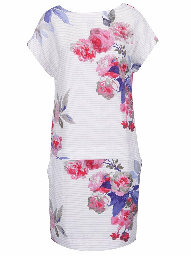 Růžovo-bílé lněné květované šaty s knoflíky Tom Joule Dana