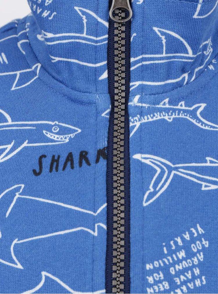 Modrá klučičí mikina s motivem žraloků Tom Joule