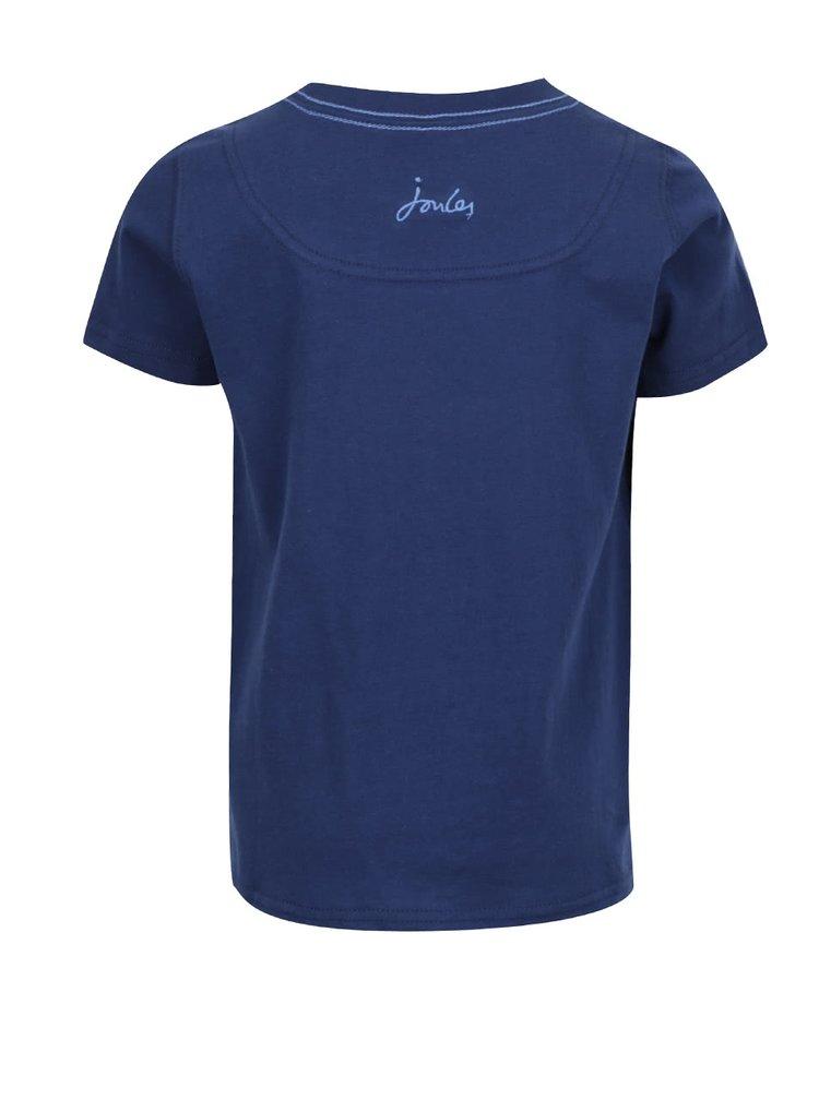 Tmavě modré klučičí triko s motivem žraloka Tom Joule