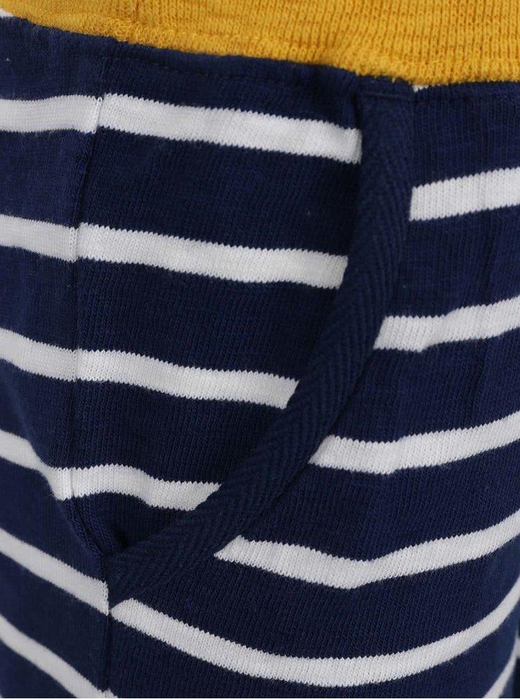 Pantaloni scurti alb & albastru Tom Joule din bumbac cu model in dungi si talie elastica pentru baieti