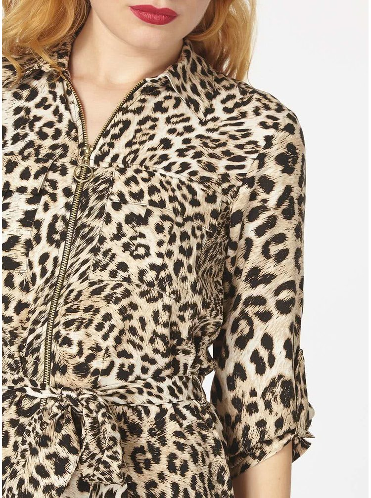Černo-hnědé šaty s leopardím vzorem Dorothy Perkins