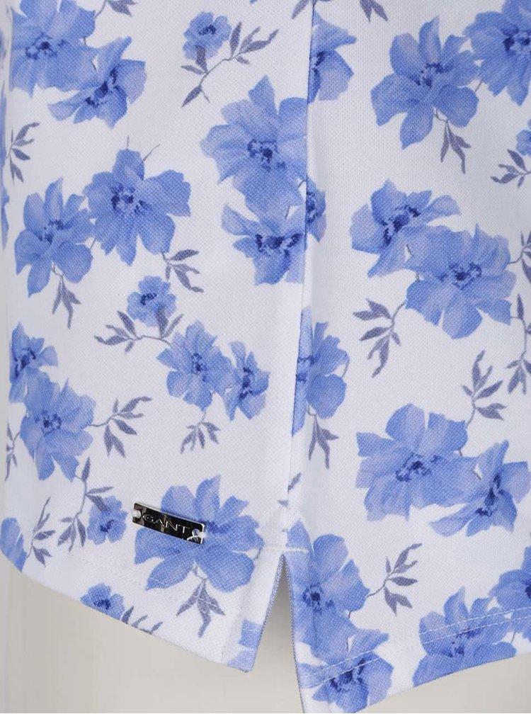 Modro-bílé dámské květované polo tričko GANT Pique
