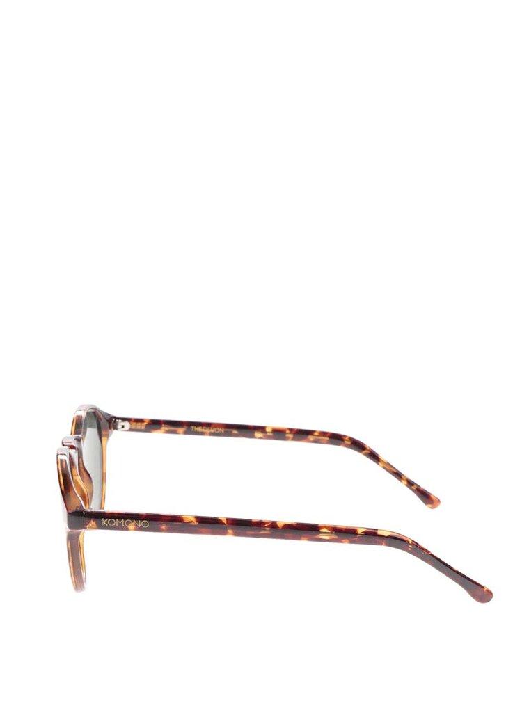 Hnědo-černé unisex sluneční brýle Komono Devon