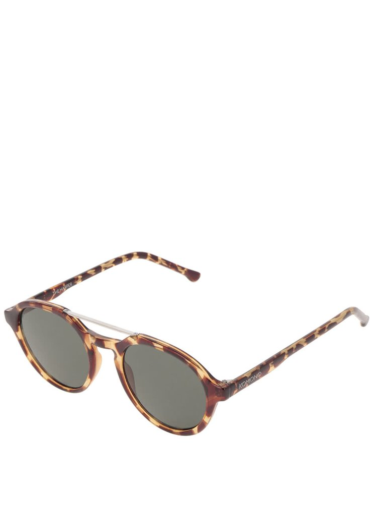 Hnědé žíhané unisex sluneční brýle Komono Harper