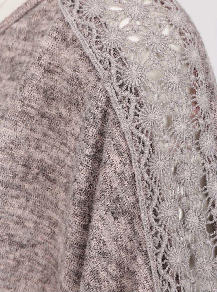 Starorůžové žíhané tričko s detaily na zádech Madonna Tuana
