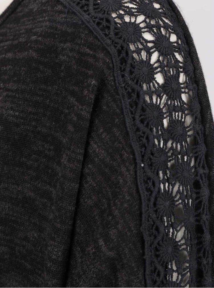 Černé žíhané tričko s detaily na zádech Madonna Tuana