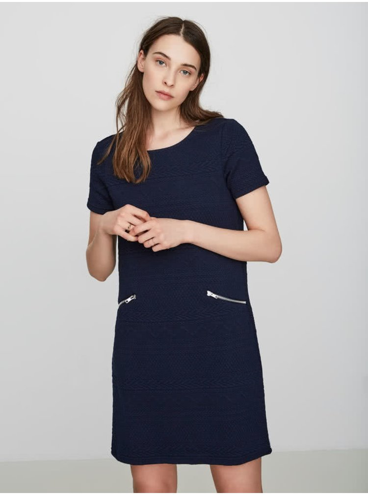 Tmavě modré šaty s jemným prošívaným vzorem VERO MODA Kaysa