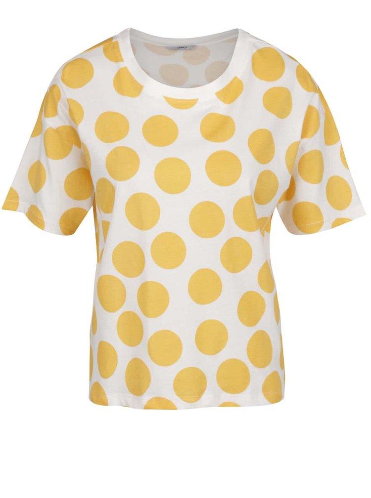 Krémové volné tričko se žlutými puntíky ONLY Dots