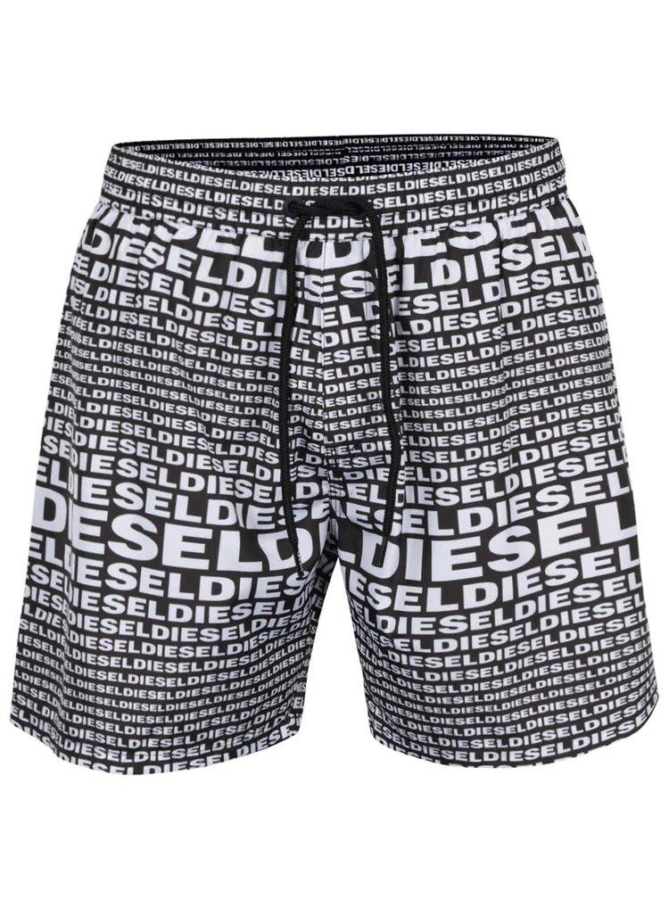 Pantaloni scurți de baie alb & negru Diesel cu imprimeu cu logo
