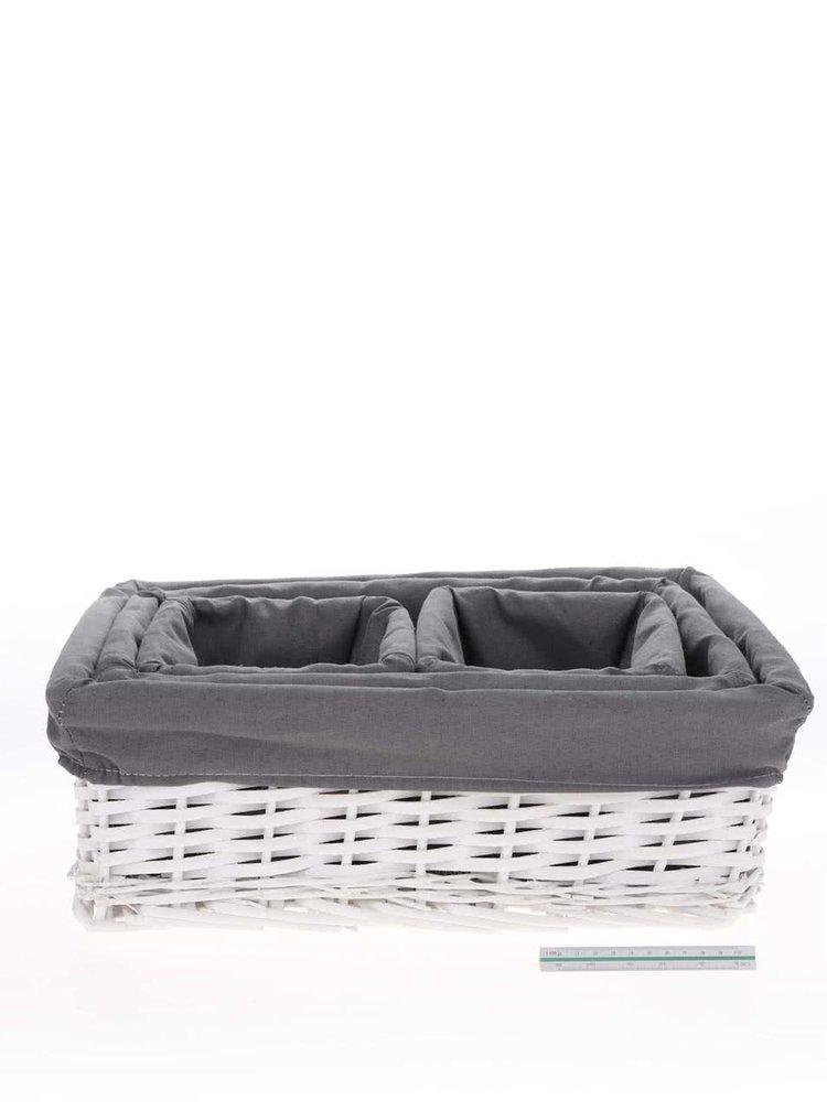 Sada čtyř proutěných košíků v šedé a bílé barvě Dakls