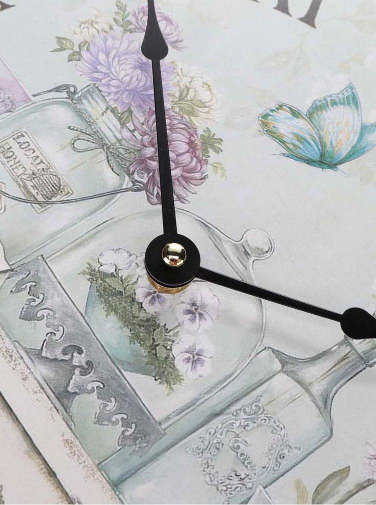 Krémové dřevěné hodiny s potiskem Dakls