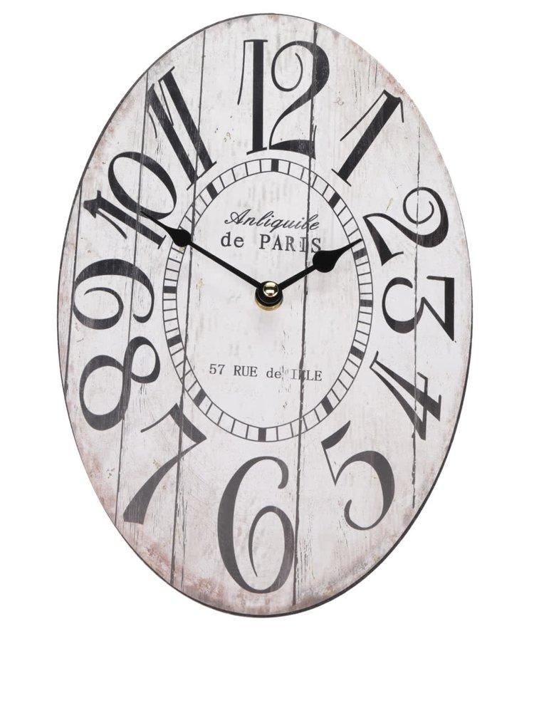 Krémové oválné hodiny Dakls