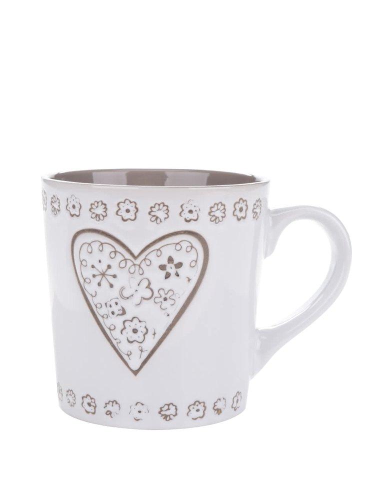 Cană alb & maro Dakls din ceramică cu model