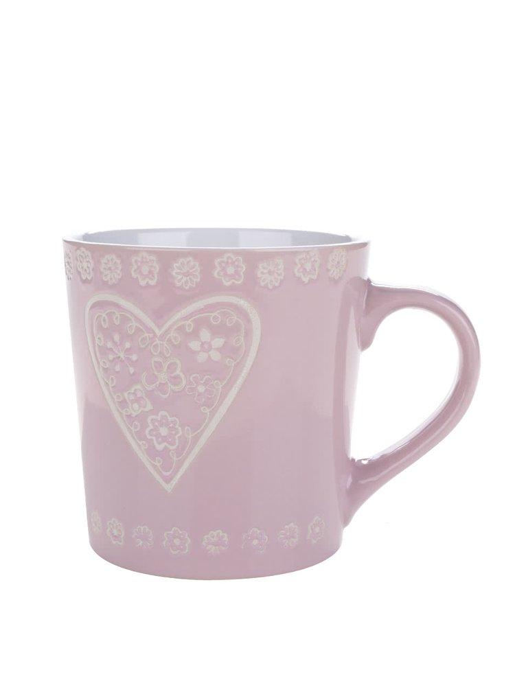 Cană roz din ceramică Dakls cu model