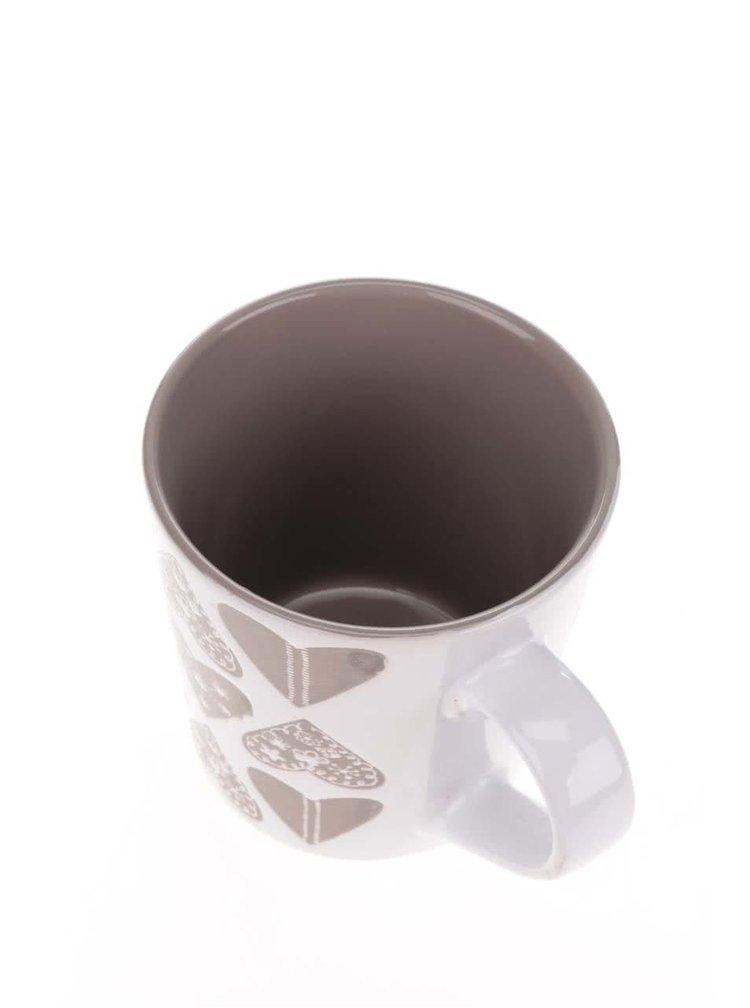 Cana crem & maro Dakls din ceramica cu model