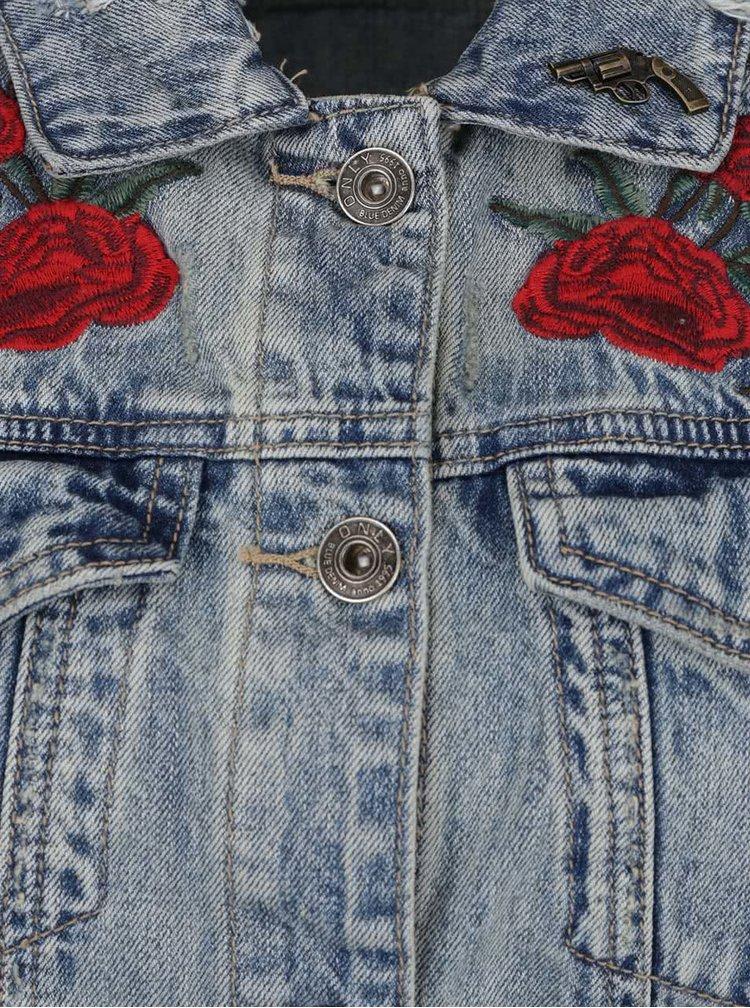 Modrá džínová vesta s výšivkami ONLY Flora