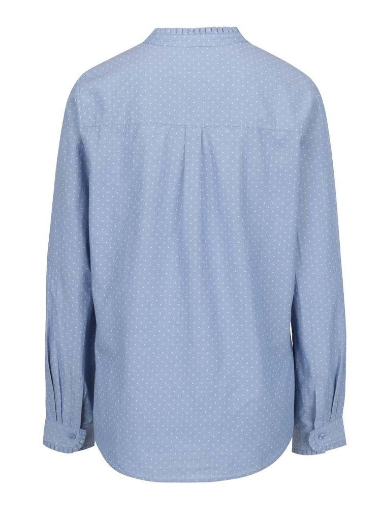 Cămașă albastră s.Oliver din bumbac cu guler tunică și model