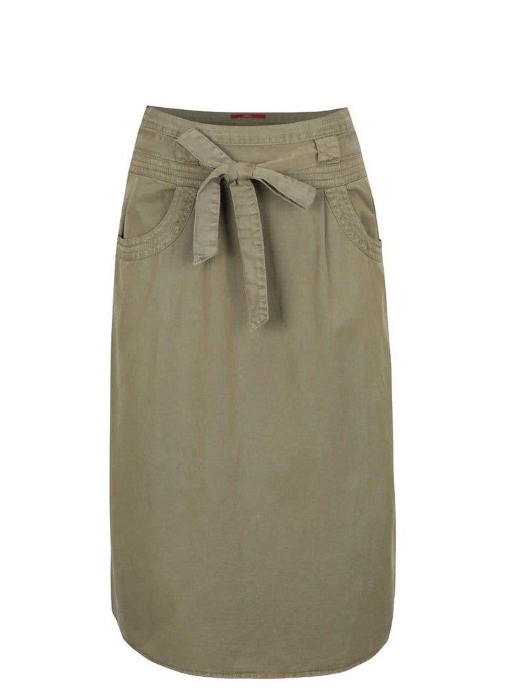 Khaki dámská midi sukně s.Oliver