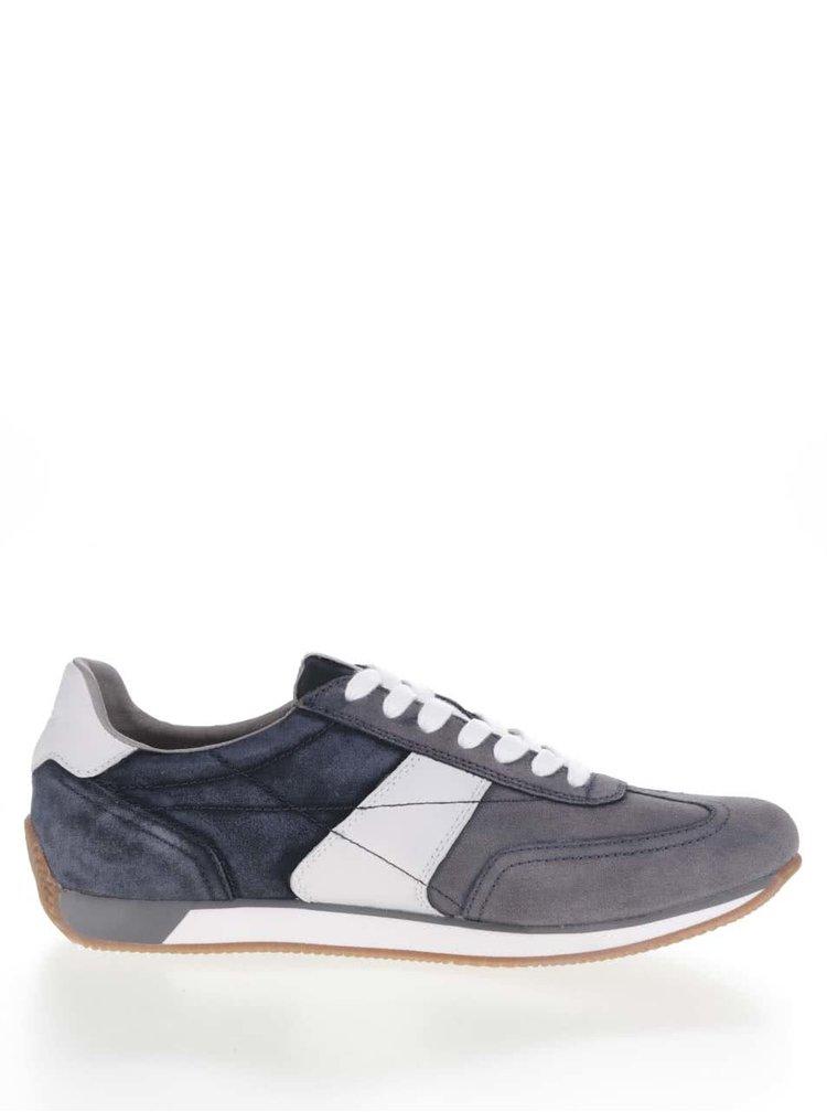 Bílo-modré pánské semišové tenisky Geox Vinto