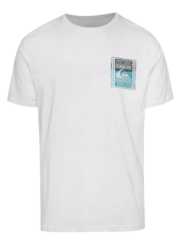 Tricou alb Quiksilver din bumbac cu print pe fata si pe spate