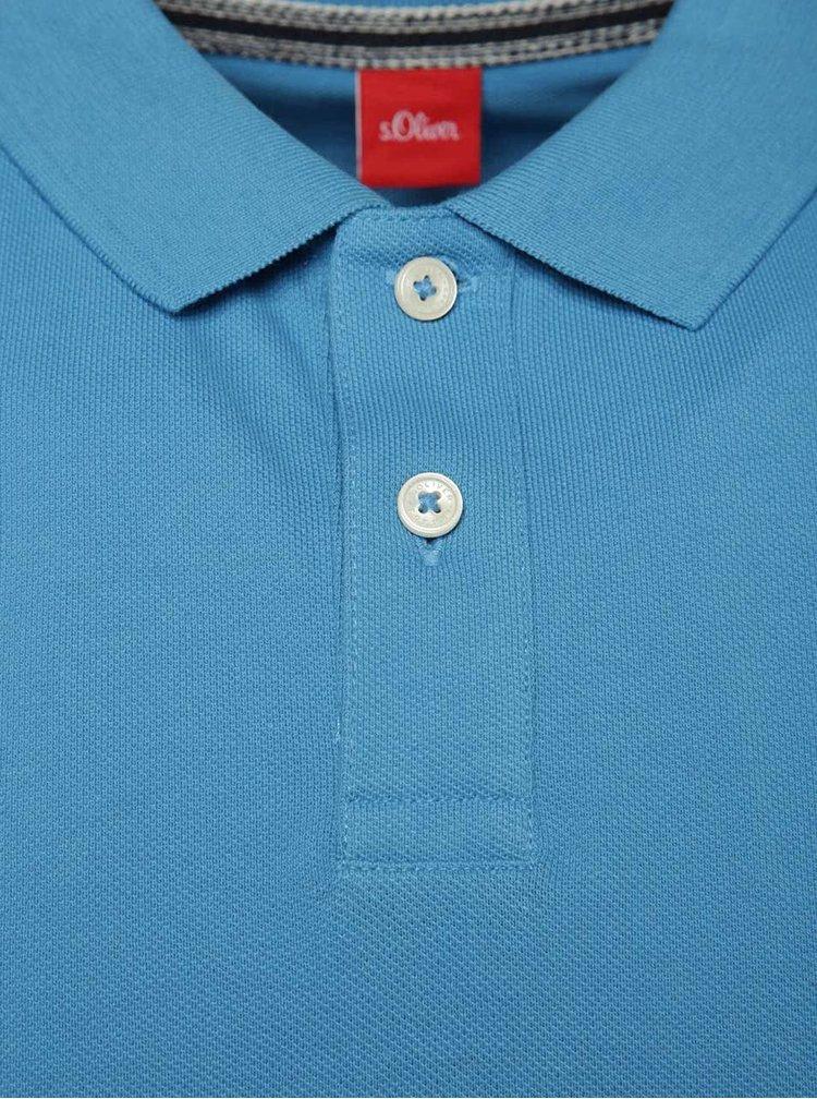 Tricou polo albastru s.Oliver cu șlițuri laterale