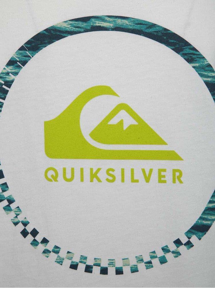 Top alb Quiksilver din bumbac cu print