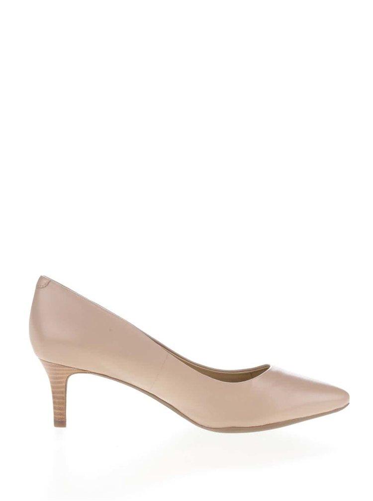 Pantofi bej Geox Elina din piele cu aspect lucios