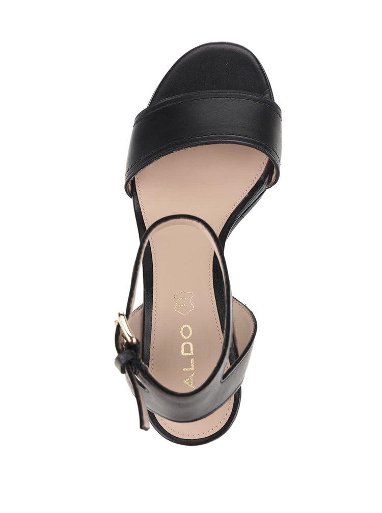 Černé dámské kožené sandálky ALDO Lolla
