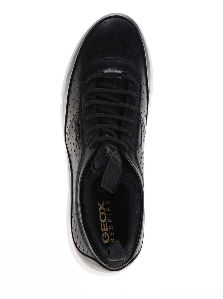 Černé pánské kožené tenisky Geox Brattley