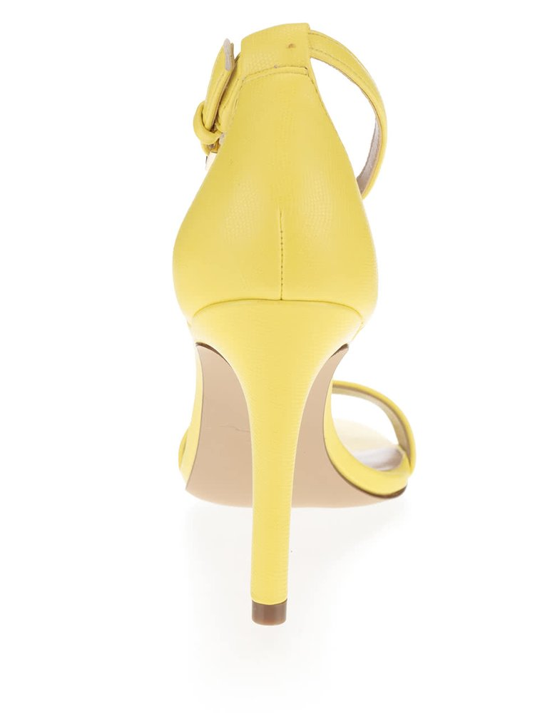 Světle žluté kožené sandálky na jehlovém podpatku ALDO Camy